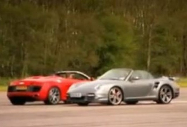 VIDEO: Porsche 911 Turbo Cabrio vs Audi R8 Spyder
