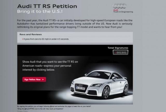 Audi lanseaza o petitie online pentru comercializarea lui TT RS in SUA