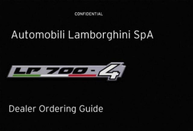 Iata brosura tehnica al noului Lamborghini LP700-4!