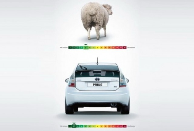 Prius castiga testul gazelor in fata unei oi!