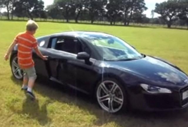 VIDEO: un pusti de 11 ani conduce un Audi R8 pe iarba