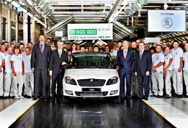 SKODA - zece milioane autovehicule la Mlada Boleslav
