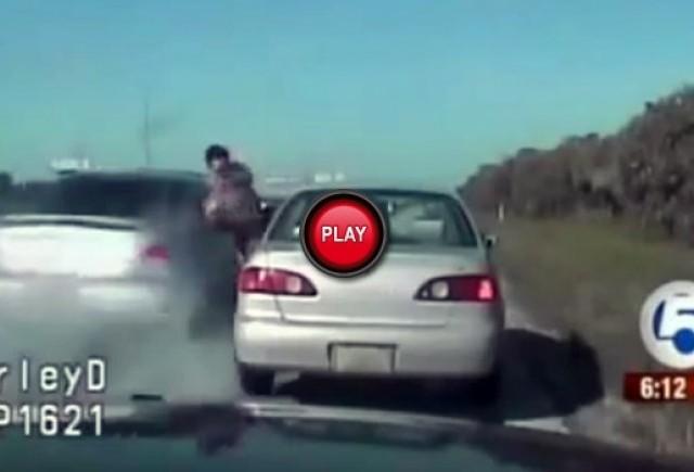 VIDEO: Un politist a fost acrosat de o masina in timpul unui control de rutina