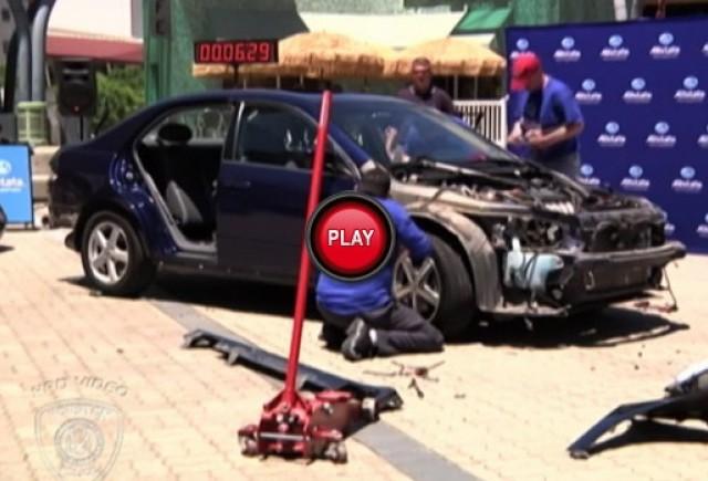 VIDEO: Cum pot hotii sa dezmembreze o masina in mai putin de 10 minute