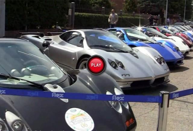 VIDEO:  Un pluton de modele Pagani Zonda si Huayra intr-o singura parcare