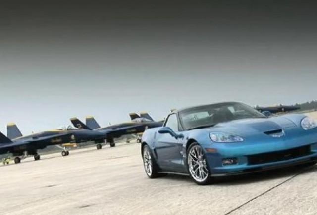 VIDEO: Corvette ZR1 se intrece cu un avion de vanatoare