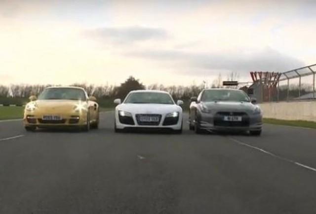 VIDEO: Batalia greilor: Nissan GT-R, Porsche 911 Turbo si Audi R8