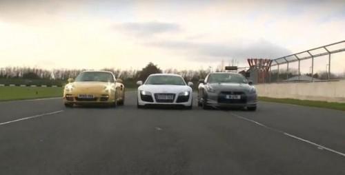 VIDEO: Batalia greilor: Nissan GT-R, Porsche 911 Turbo si Audi R817550
