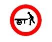 Accesul interzis autovehiculelor impinse sau trase cu mana