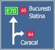 Presemnalizarea directiilor la o intersectie de drumuri din afara localitatilor