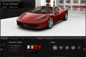 Configurator Ferrari 458 Spider