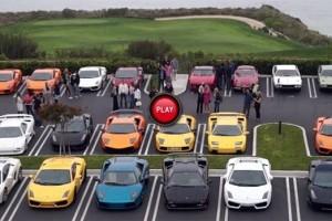 Peste 50 de modele Lamborghini filmate intr-o parcare