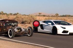 Lamborghini Aventador vs Ford Model A Rat Rod
